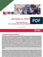 GNC Investor Presentation - ICR Conference January 13, 2016