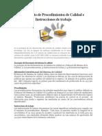 Concepto de Procedimientos de Calidad e Instrucciones de Trabajo