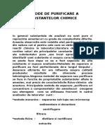 Metode de Purificare a Substantelor Chimice