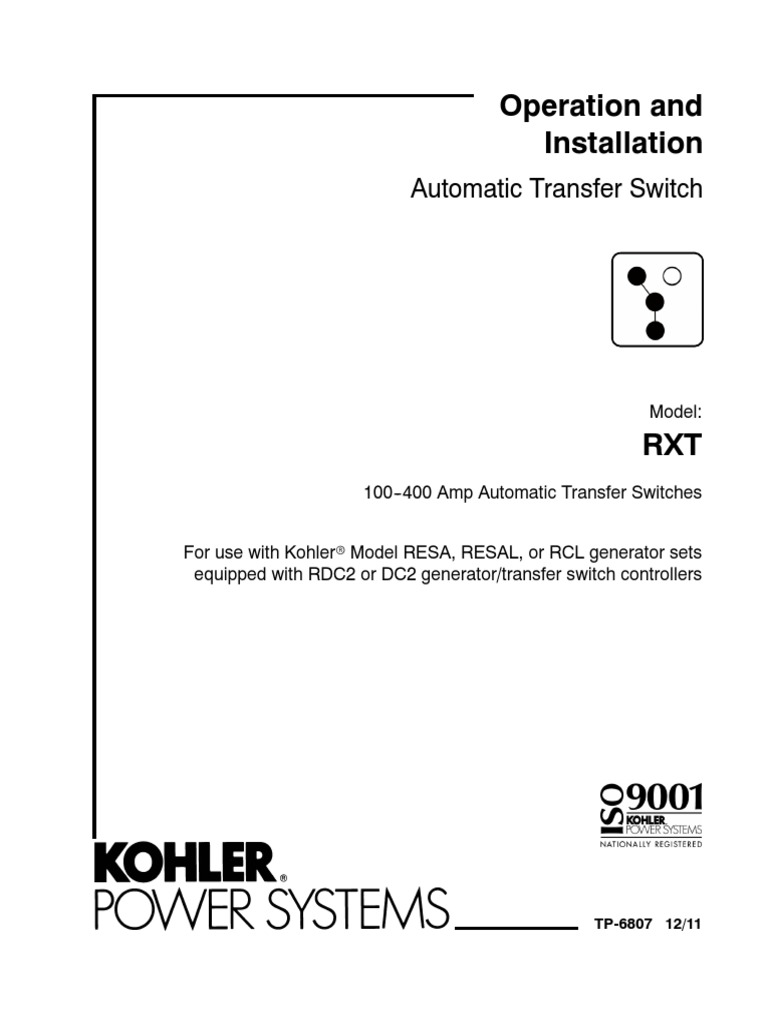 Kohler RXT Transfer Switch OperationInstallation Manual