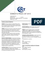 Colt MSRP Price List 2015