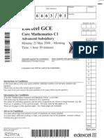 GCE Core Mathematics C1 MAY 2006