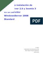 Manual de Instalación de WampServer 2.5 y Joomla 3 en Un Servidor WindowsServer 2008 Standard