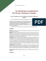 Niveles de Sedentarismo en Población de 18 a 60 Años. Manizales, Colombia