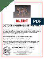 Culver City Animal Services alert on coyotes
