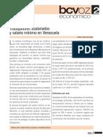 Trabajadores asalariados y salario mínimo en Venezuela.