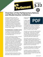 Factsheet 3.22 OverviewOfParliamentReformAndModernisation