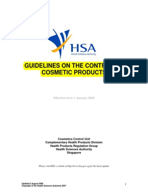 Guidelines on the Control of Cosmetic Products | Cosmetics | Perfume