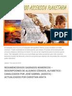 Angel Dorado Ascension Planetaria_ Resumencodigos Sagrados Numericos – Descripciones de Algunos Códigos, Alfabetico - Canalizados Por José Gabriel (Agesta) - Actualizados Por Christian Arata