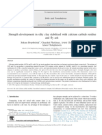 Strength Development in Silty Clay Stabilized With Calcium Carbide Residue and Fly Ash
