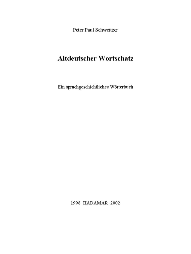 Altdeutscher Wortschatz - Wörterbuch