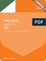 CIE O LEVEL SYLLABUS physics 5054