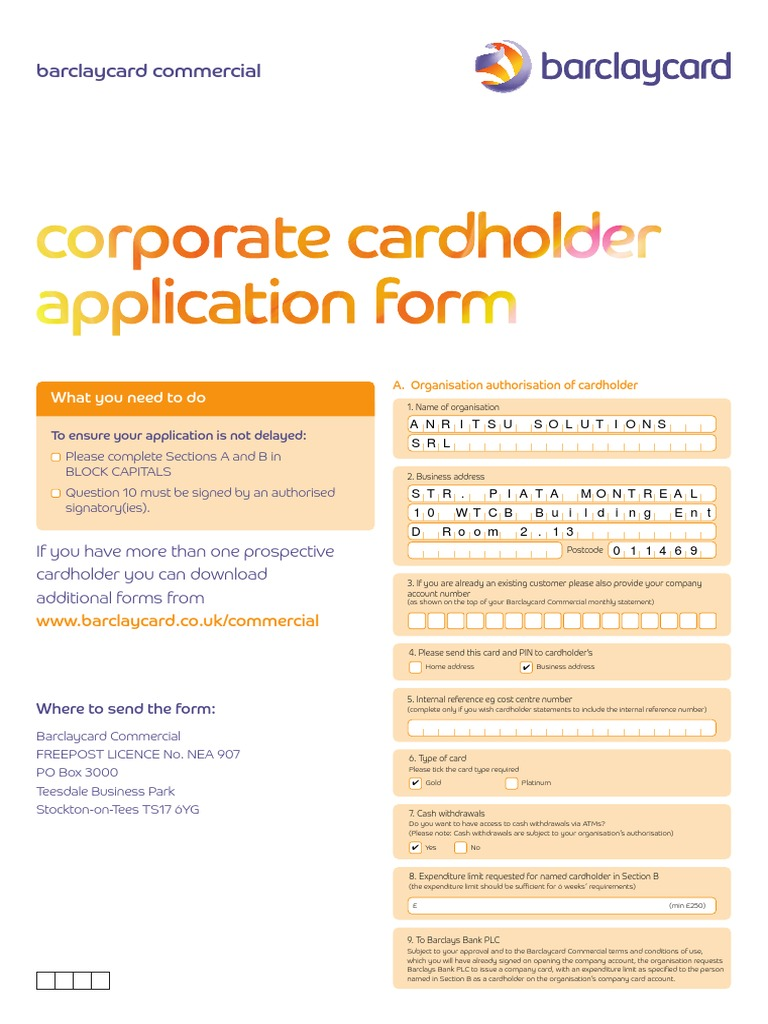 Barclaycard application formpdf barclays banking reheart