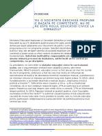 Pozitia Fundatiei pentru o societate deschisa privind Planurile-cadru pentru Gimnaziu