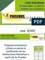 Saber 11 2015-2 Analisis de Resultados Liceo Nacional Presentacion