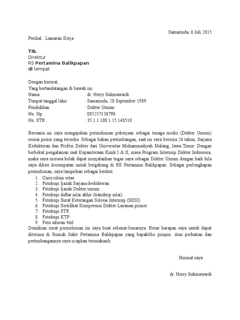 Surat Lamaran Kerja Rumah Sakit