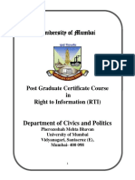 Mumbai University Certificate Course in Right to Information (RTI)