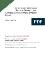 La Peinture Ou Les Lçons Esthétiques Chez Marcel Proust Dissertation