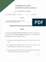Ruling Kwizera Eddie vs National Resistance Organisation & Nsaba Buturo