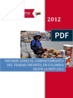 El Trabajo Infantil en Colombia Diagnostico 2011