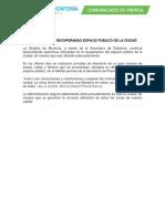 ALCALDÍA SIGUE RECUPERANDO ESPACIO PÚBLICO DE LA CIUDAD