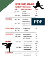 YAJ Timetable 2016