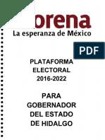 Plataforma Electoral 2016-2022 de Gobernador MORENA Hidalgo