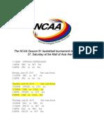 NCAA 91 Schedule
