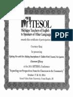 MITESOL Best Presentation 2014