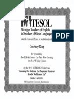 MITESOL Presentation Certificate 2015