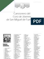 Cancionero de Coro de Jóvenes San Miguel de Fuencarral con notas