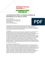 Consideraciones Sobre Sistemas Actuales de Alimentacion en Vacas Lecheras