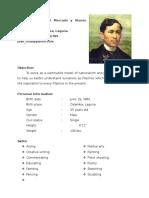 Dr. Jose Protacio Rizal Resume