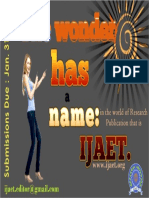 ijaet Submissions Open. IJAET CFP