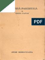 Mimansa Paribhasa of Krsna Yajvan - Swami Madhavananda