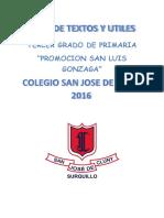 Lista de Textos y Utiles - 3er Grado- 2016