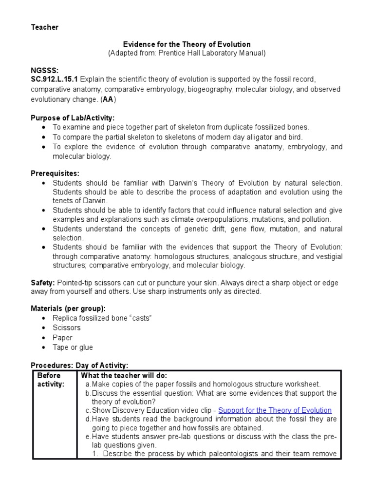 Worksheets Comparative Anatomy Worksheet evidence for the theory of evolution cer hot lab natural selection