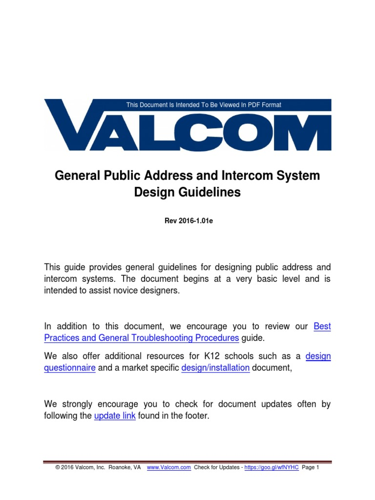 Public Address And Intercom System Design Guidelines Clock Telephone