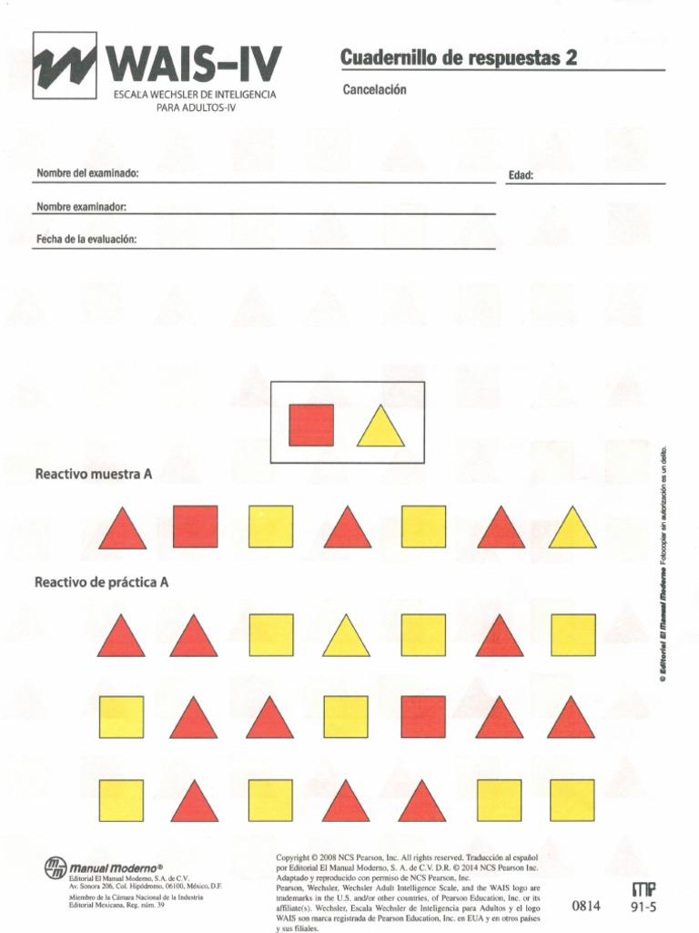 Cuadernillo De Respuestas 2 Wais Iv