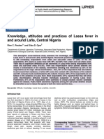 Knowledge, attitudes and practices of Lassa fever in and around Lafia, Central Nigeria