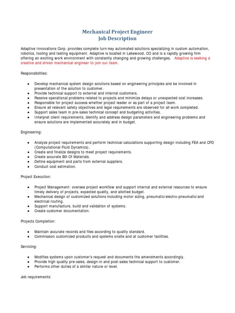 Mechanical Project Engineer Job Description | Mechanical Engineering |  Automation