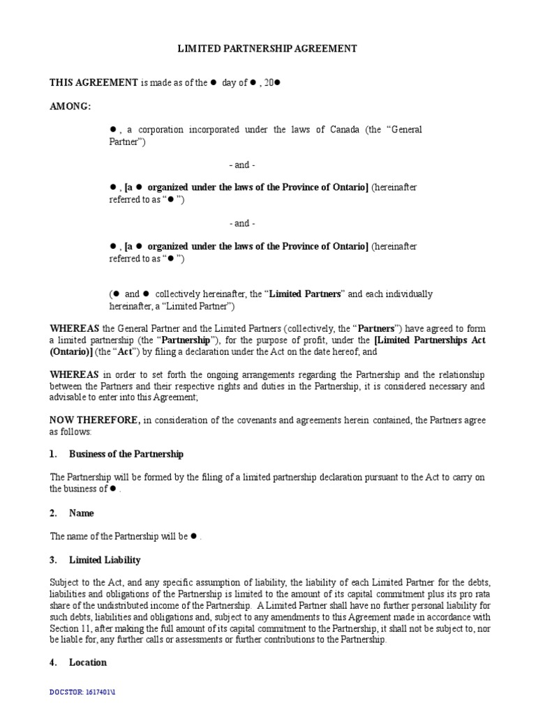 Limited Partnership Agreement Template Short Form1 | General Partnership |  Partnership