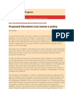 Proposed Education Law Seems a Policy