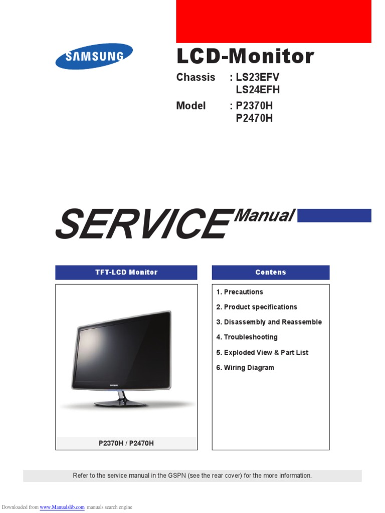 Samsung p2370h Service Manual | Electrostatic Discharge | Electrical
