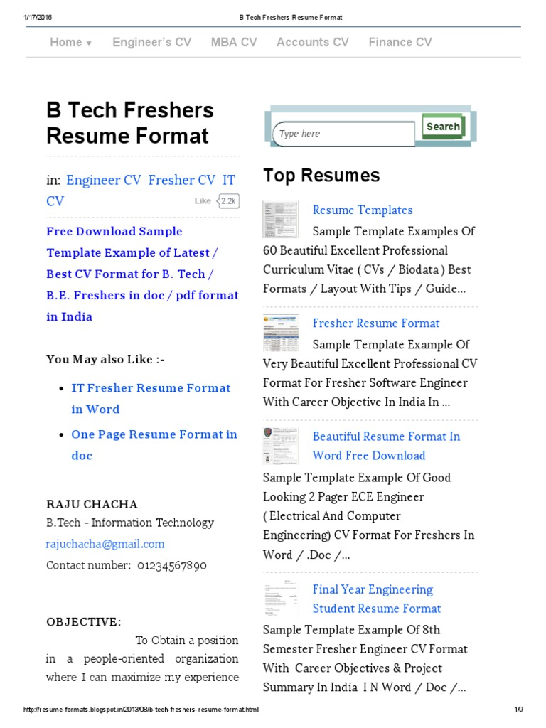 B Tech Freshers Resume Format | Résumé | Java Server Faces  Best Cv Format