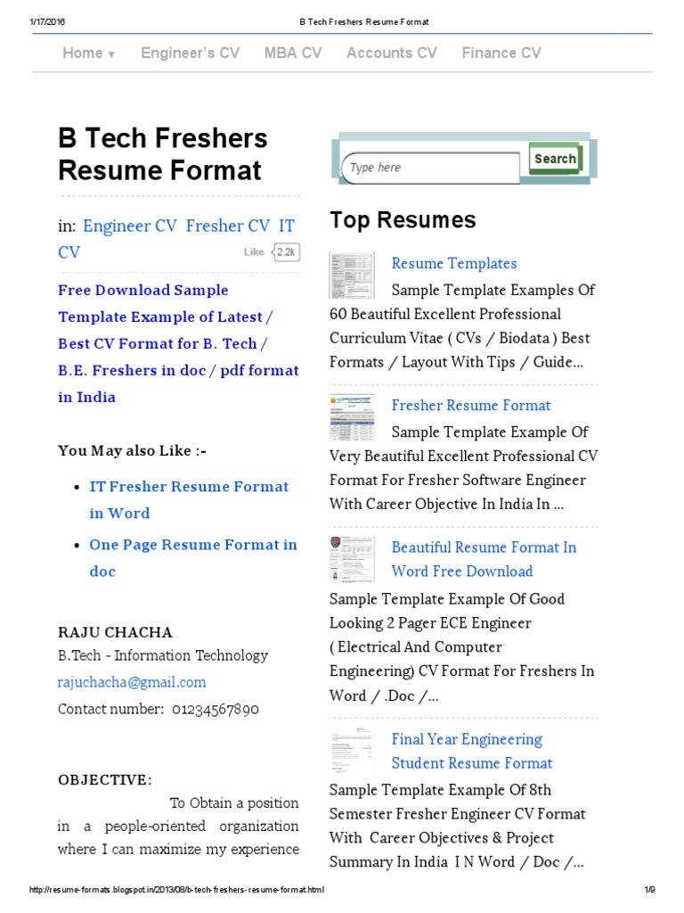 Bonito Descargar El Formato De Currículum Para Freshers Engineers ...