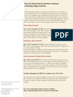 Harvard SAI Fellowship Opportunities 2015-2016