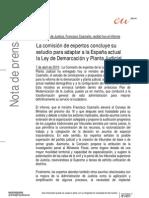 Nota prensa entrega  Ministro conclusiones comisión expertos reforma LDYPJ