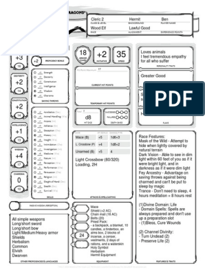 Cleric 2 Character Sheet   Dungeons & Dragons   Role Playing