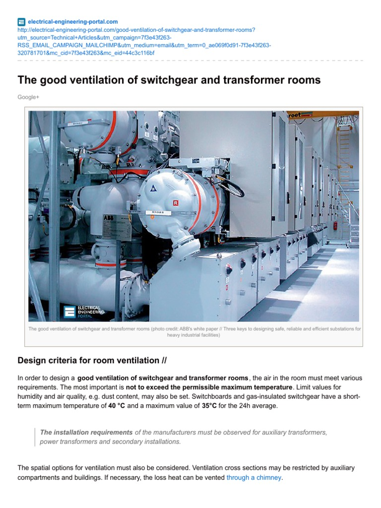 Electrical Engineering Portalcom The Good Ventilation Of Switchgear